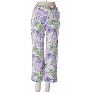 LOFT Pale Pink Cropped Pants Purple Floral Size 2